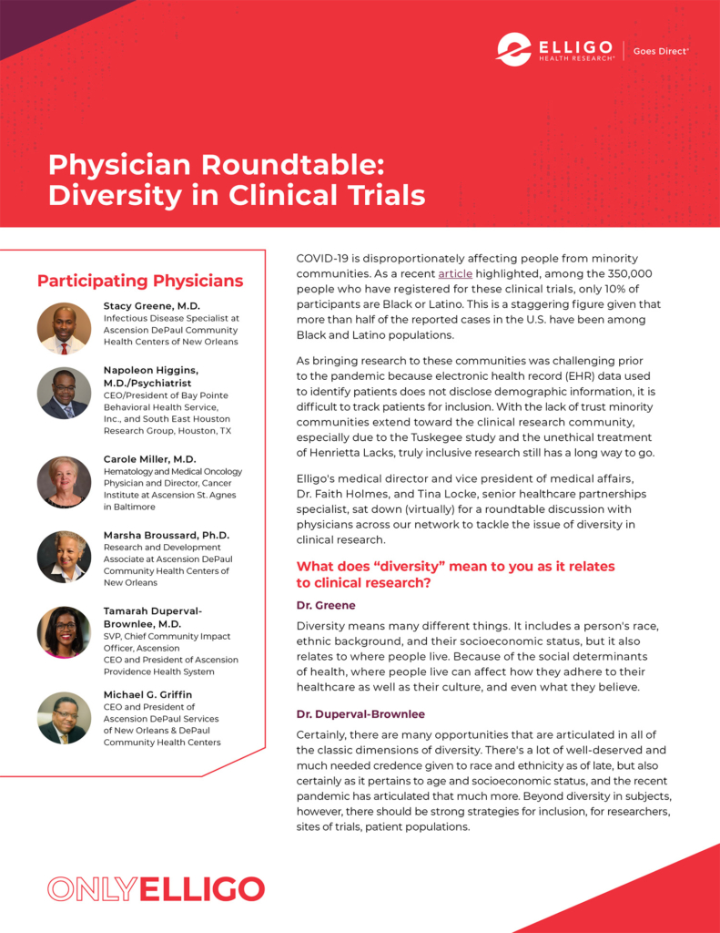 physician roundtable diversity in clinical trials
